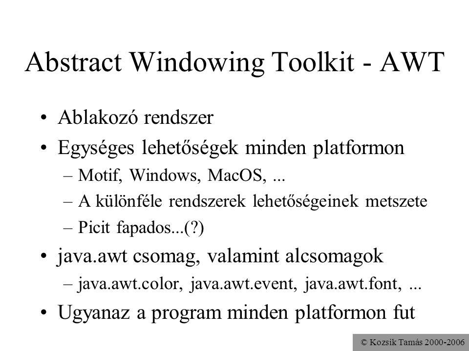 © Kozsik Tamás 2000-2006 Első program import java.awt.Frame; class Ablak { public static void main(String args[]){ Frame f = new Frame(); f.setSize(100,200); f.setVisible(true); }