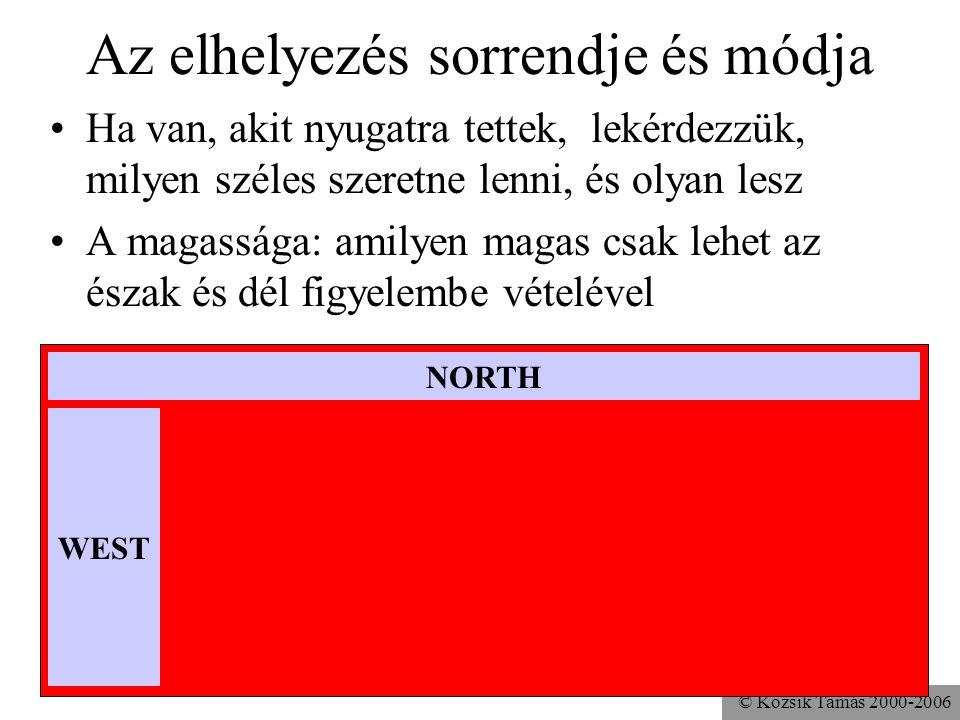 © Kozsik Tamás 2000-2006 Az elhelyezés sorrendje és módja Ha van, akit nyugatra tettek, lekérdezzük, milyen széles szeretne lenni, és olyan lesz A magassága: amilyen magas csak lehet az észak és dél figyelembe vételével NORTH WEST