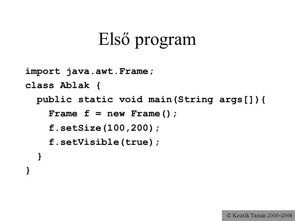 © Kozsik Tamás 2000-2006 A megoldó programkód import java.awt.*; class OC extends Frame { public OC(){ add(new TextArea(), BorderLayout.CENTER); Panel p1 = new Panel(); add(p1,BorderLayout.SOUTH); p1.setLayout(new BorderLayout()); Panel p2 = new Panel(); p1.add(p2,BorderLayout.EAST); p2.setLayout(new GridLayout(1,0)); p2.add(new Button( Ok )); p2.add(new Button( Cancel )); } public static void main( String[] args ){ OC oc = new OC(); oc.pack(); oc.setVisible(true); }