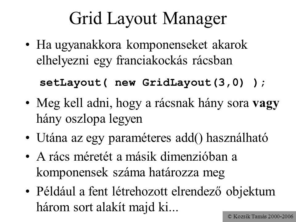 © Kozsik Tamás 2000-2006 Grid Layout Manager Ha ugyanakkora komponenseket akarok elhelyezni egy franciakockás rácsban setLayout( new GridLayout(3,0) ); Meg kell adni, hogy a rácsnak hány sora vagy hány oszlopa legyen Utána az egy paraméteres add() használható A rács méretét a másik dimenzióban a komponensek száma határozza meg Például a fent létrehozott elrendező objektum három sort alakít majd ki...