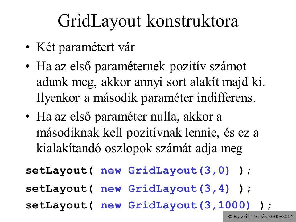 © Kozsik Tamás 2000-2006 GridLayout konstruktora Két paramétert vár Ha az első paraméternek pozitív számot adunk meg, akkor annyi sort alakít majd ki.