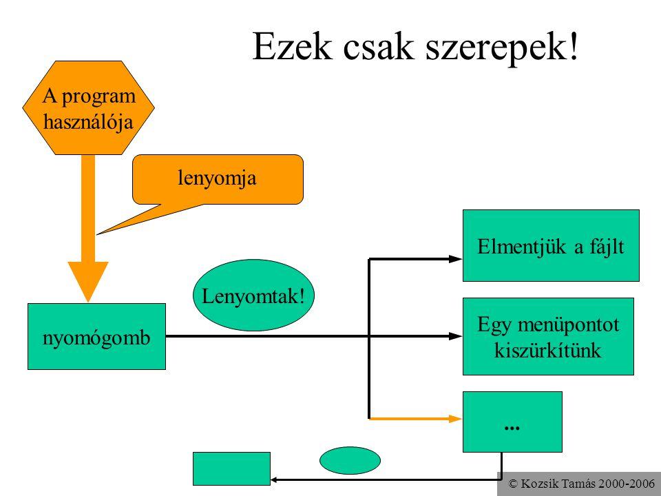 © Kozsik Tamás 2000-2006 Ezek csak szerepek. Lenyomtak.