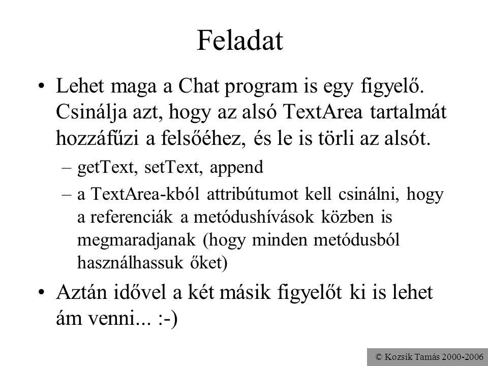 © Kozsik Tamás 2000-2006 Feladat Lehet maga a Chat program is egy figyelő.