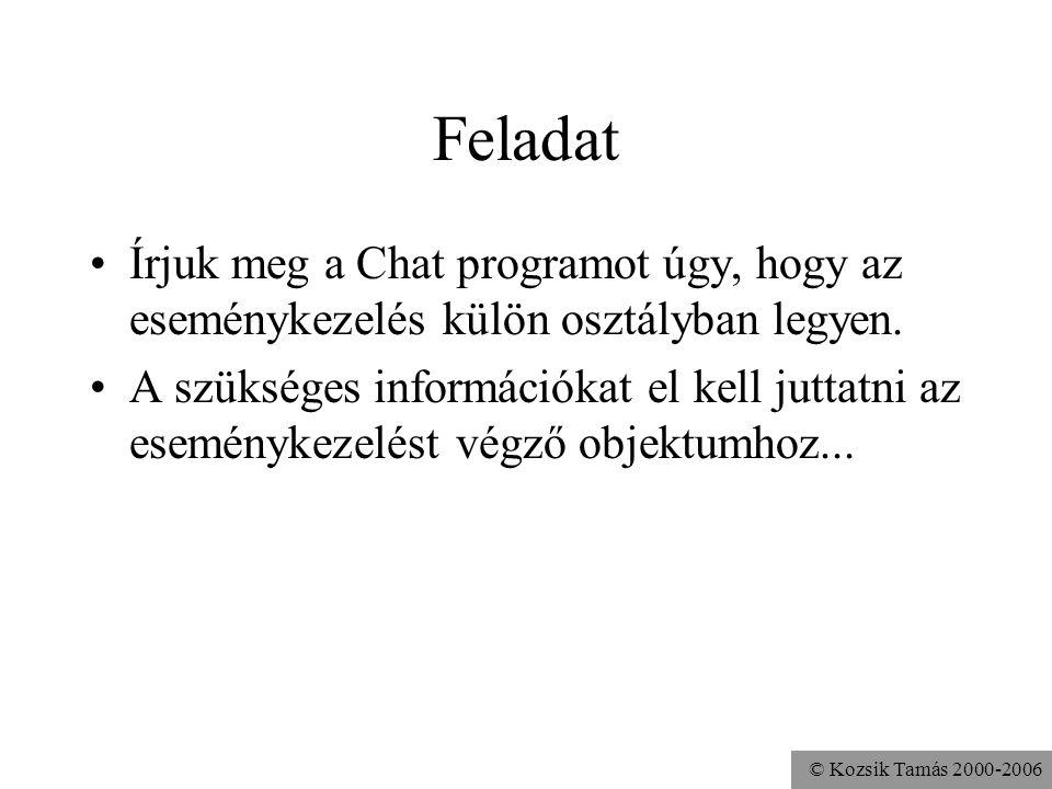 © Kozsik Tamás 2000-2006 Feladat Írjuk meg a Chat programot úgy, hogy az eseménykezelés külön osztályban legyen.