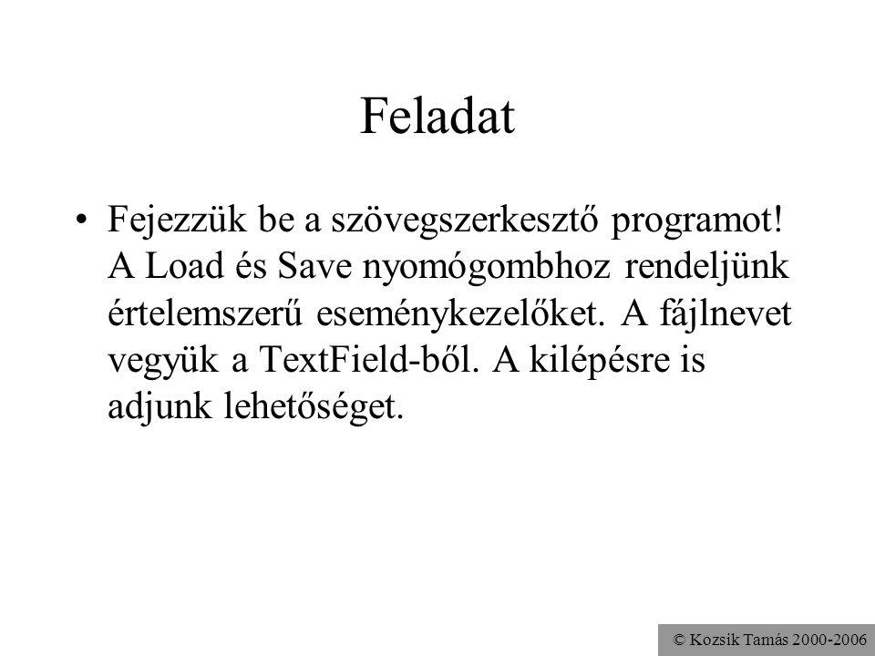 © Kozsik Tamás 2000-2006 Feladat Fejezzük be a szövegszerkesztő programot.