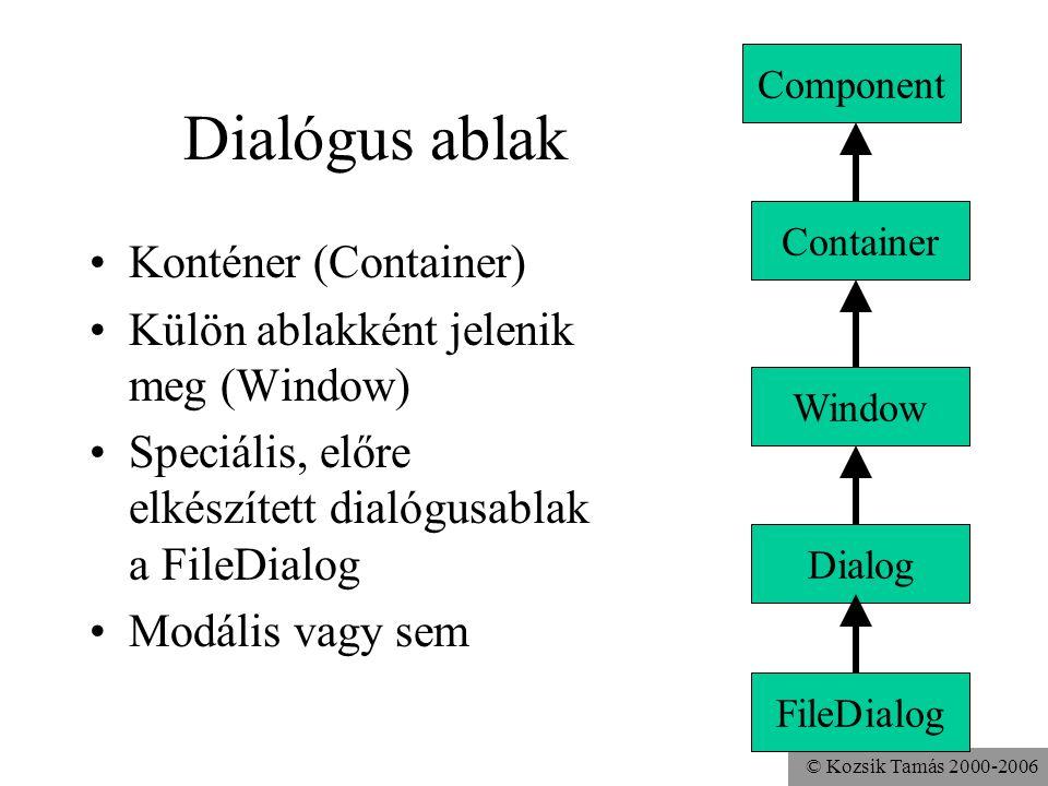 © Kozsik Tamás 2000-2006 Dialógus ablak Konténer (Container) Külön ablakként jelenik meg (Window) Speciális, előre elkészített dialógusablak a FileDialog Modális vagy sem Component Window Dialog FileDialog Container