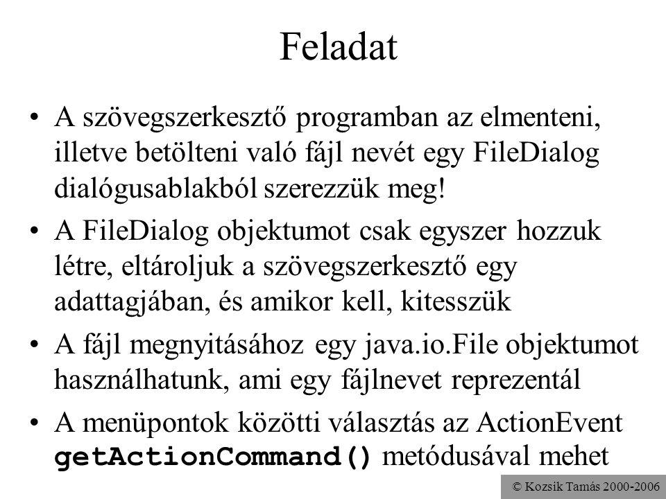 © Kozsik Tamás 2000-2006 Feladat A szövegszerkesztő programban az elmenteni, illetve betölteni való fájl nevét egy FileDialog dialógusablakból szerezzük meg.