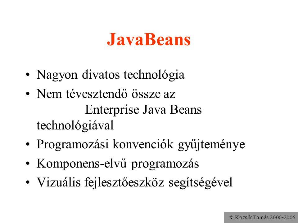 © Kozsik Tamás 2000-2006 JavaBeans Nagyon divatos technológia Nem tévesztendő össze az Enterprise Java Beans technológiával Programozási konvenciók gy