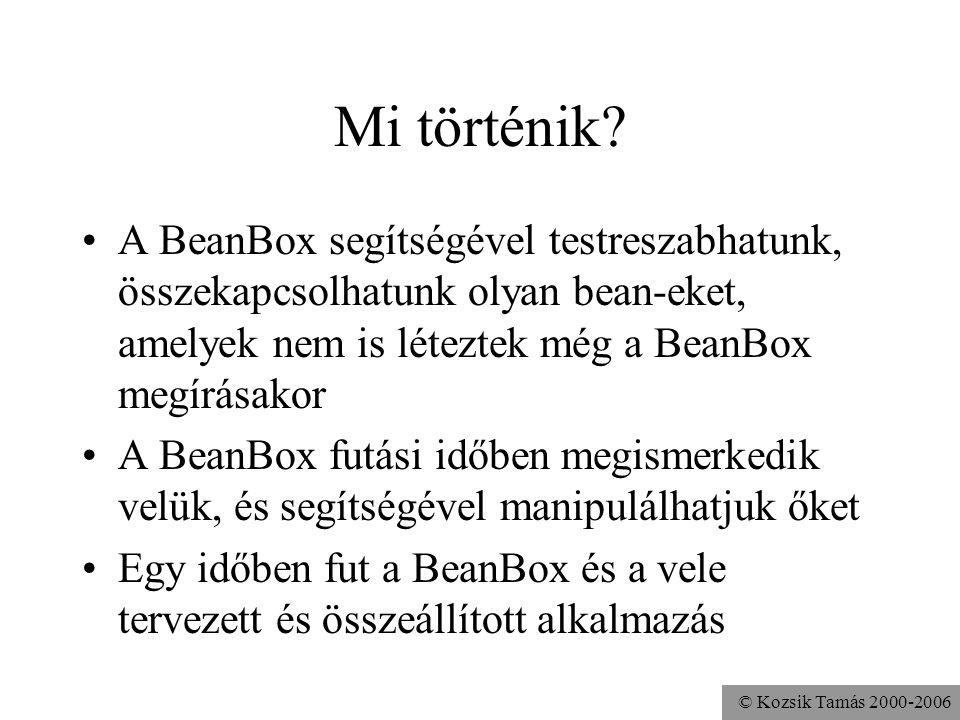 © Kozsik Tamás 2000-2006 Mi történik? A BeanBox segítségével testreszabhatunk, összekapcsolhatunk olyan bean-eket, amelyek nem is léteztek még a BeanB