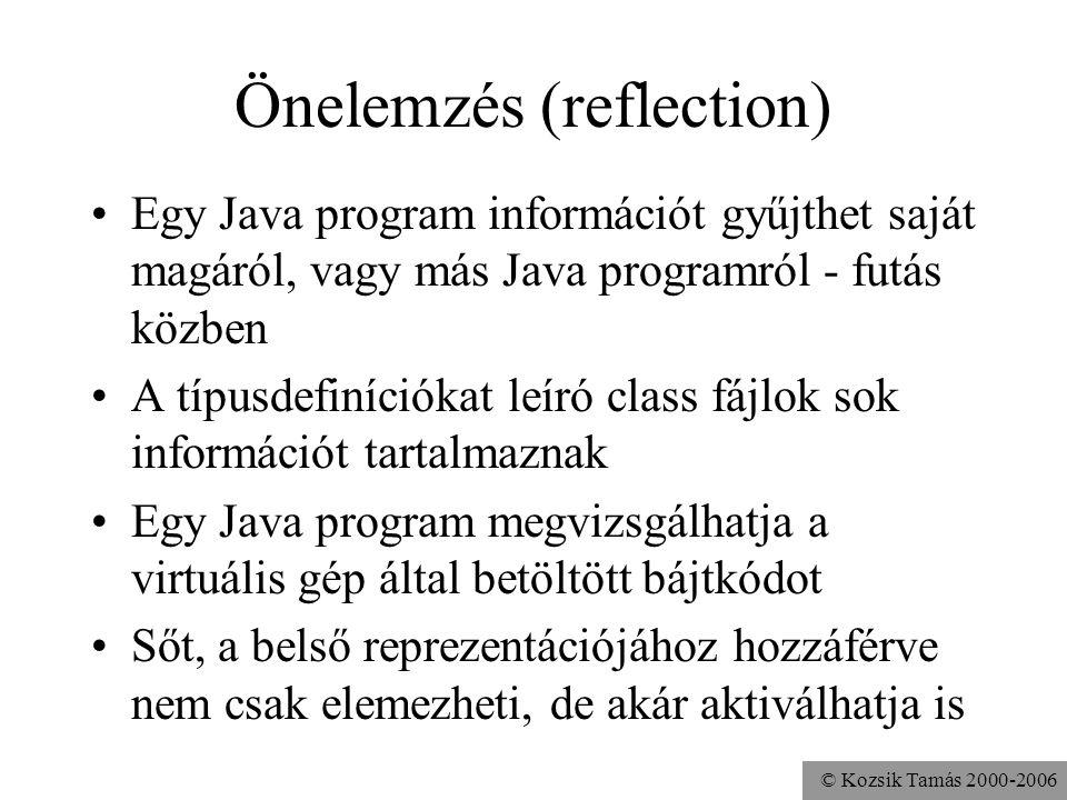 © Kozsik Tamás 2000-2006 Önelemzés (reflection) Egy Java program információt gyűjthet saját magáról, vagy más Java programról - futás közben A típusde