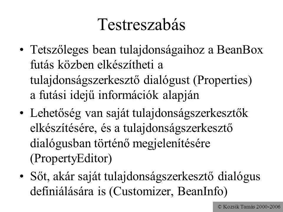 © Kozsik Tamás 2000-2006 Testreszabás Tetszőleges bean tulajdonságaihoz a BeanBox futás közben elkészítheti a tulajdonságszerkesztő dialógust (Propert