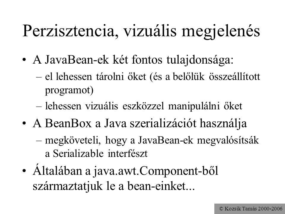 © Kozsik Tamás 2000-2006 Perzisztencia, vizuális megjelenés A JavaBean-ek két fontos tulajdonsága: –el lehessen tárolni őket (és a belőlük összeállíto