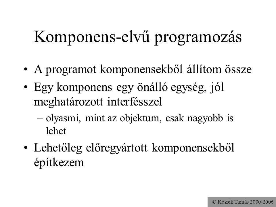 © Kozsik Tamás 2000-2006 Komponens-elvű programozás A programot komponensekből állítom össze Egy komponens egy önálló egység, jól meghatározott interf