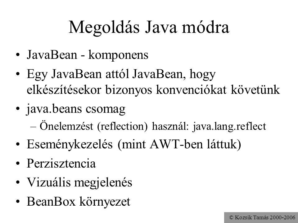 © Kozsik Tamás 2000-2006 Megoldás Java módra JavaBean - komponens Egy JavaBean attól JavaBean, hogy elkészítésekor bizonyos konvenciókat követünk java