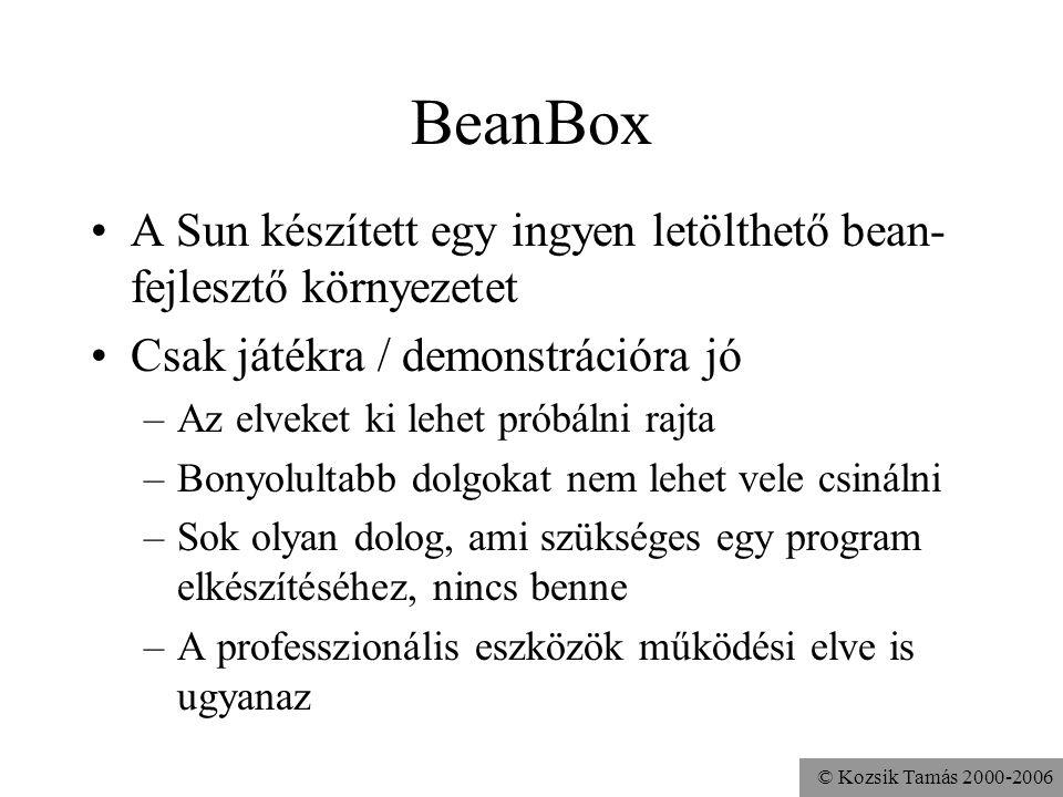 © Kozsik Tamás 2000-2006 Bean Development Kit BDK 1.1 - 1999 http://java.sun.com/javabeans/ Benne van a BeanBox, dokumentációk, példaprogramok A BDK mellett más, kapcsolódó technológiák: –JavaBeans Tools for ActiveX –InfoBus –JavaBeans Activation Framework (JAF)