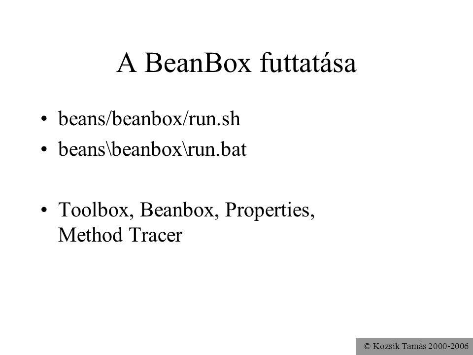 © Kozsik Tamás 2000-2006 Játék Bean-ek elhelyezése a BeanBox-ban Tulajdonságok módosítása Bean-ek összekapcsolása –Juggler vezérlése nyomógombokkal Mentés és visszatöltés Applet-té alakítás Feladat: Vízmolekula forgatása