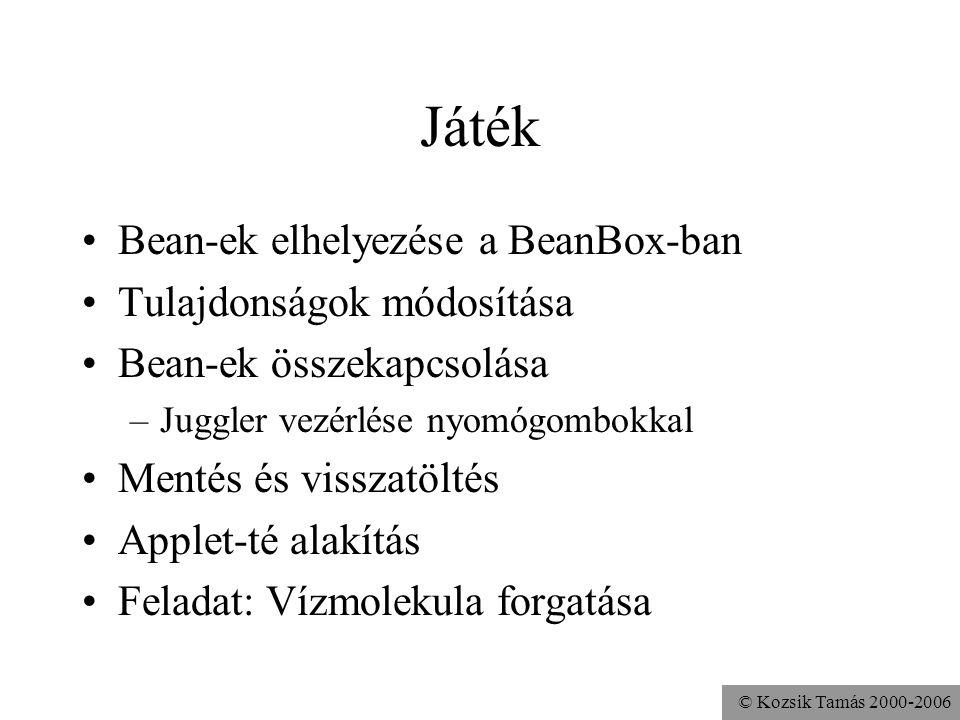© Kozsik Tamás 2000-2006 Játék Bean-ek elhelyezése a BeanBox-ban Tulajdonságok módosítása Bean-ek összekapcsolása –Juggler vezérlése nyomógombokkal Me
