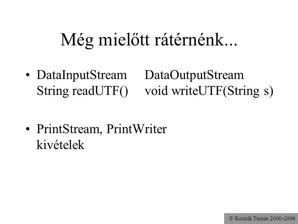 © Kozsik Tamás 2000-2006 Még mielőtt rátérnénk... DataInputStreamDataOutputStream String readUTF()void writeUTF(String s) PrintStream, PrintWriter kiv