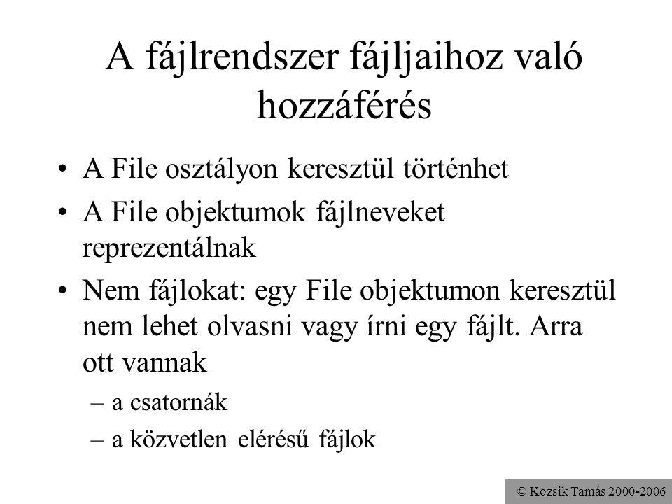 © Kozsik Tamás 2000-2006 A fájlrendszer fájljaihoz való hozzáférés A File osztályon keresztül történhet A File objektumok fájlneveket reprezentálnak N