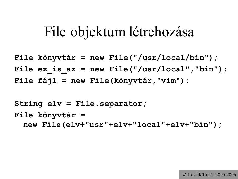 © Kozsik Tamás 2000-2006 File objektum létrehozása File könyvtár = new File(