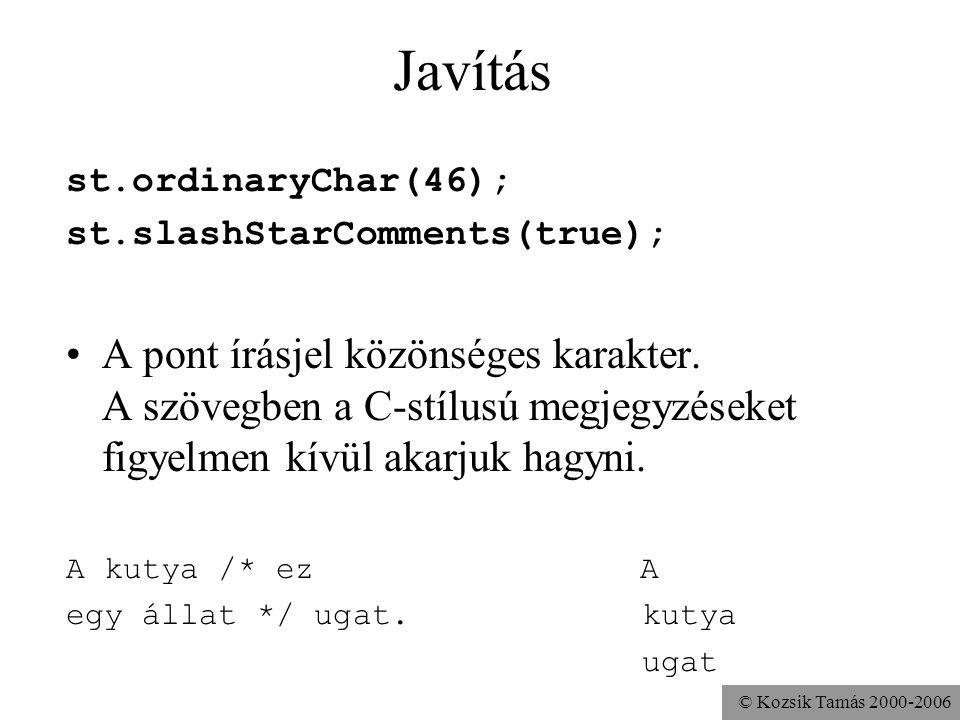 © Kozsik Tamás 2000-2006 Javítás st.ordinaryChar(46); st.slashStarComments(true); A pont írásjel közönséges karakter. A szövegben a C-stílusú megjegyz