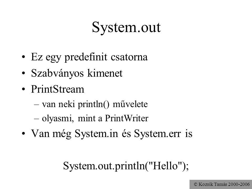 © Kozsik Tamás 2000-2006 System.out Ez egy predefinit csatorna Szabványos kimenet PrintStream –van neki println() művelete –olyasmi, mint a PrintWrite