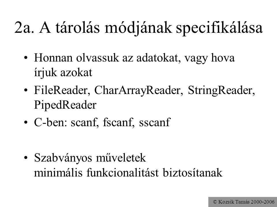 © Kozsik Tamás 2000-2006 2a. A tárolás módjának specifikálása Honnan olvassuk az adatokat, vagy hova írjuk azokat FileReader, CharArrayReader, StringR