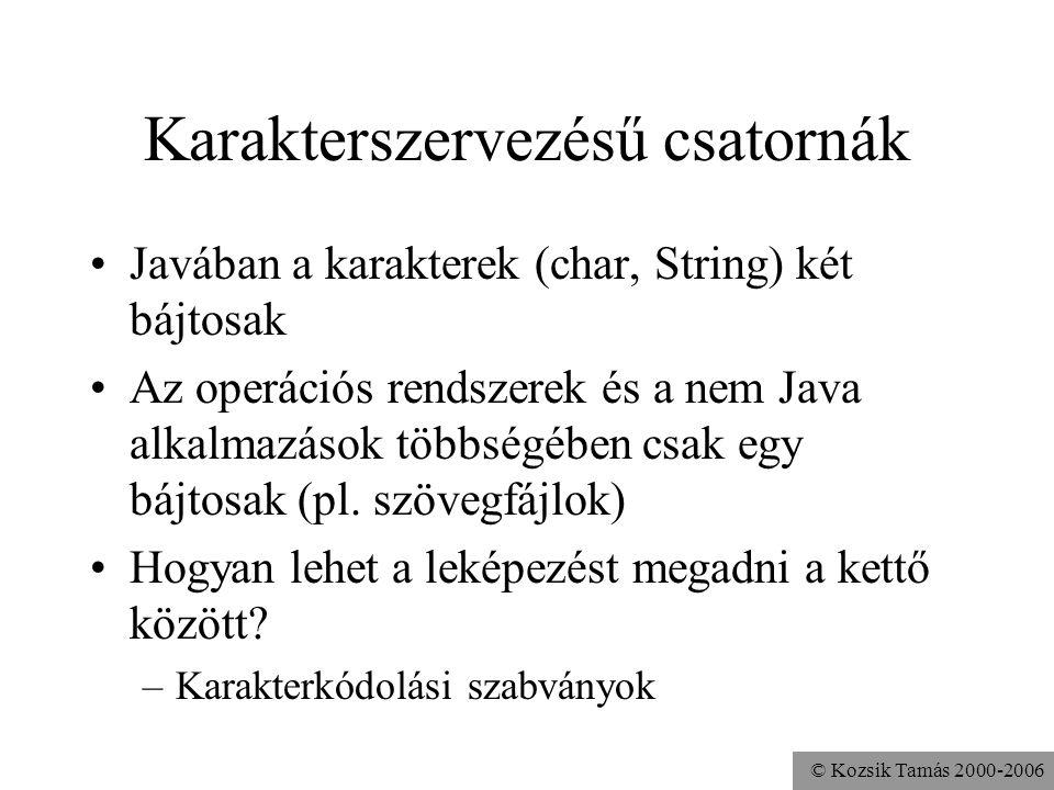 © Kozsik Tamás 2000-2006 Karakterszervezésű csatornák Javában a karakterek (char, String) két bájtosak Az operációs rendszerek és a nem Java alkalmazá