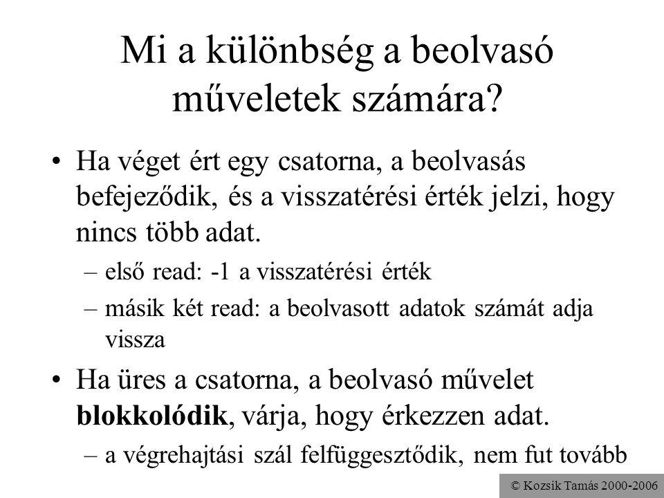 © Kozsik Tamás 2000-2006 Mi a különbség a beolvasó műveletek számára? Ha véget ért egy csatorna, a beolvasás befejeződik, és a visszatérési érték jelz