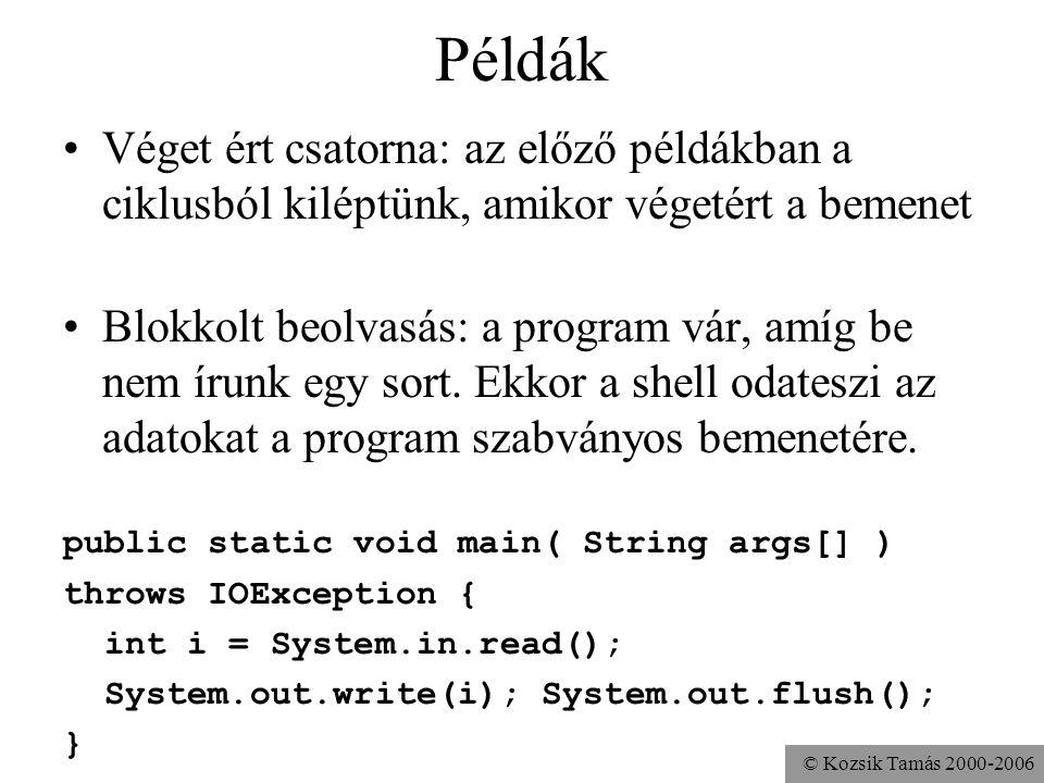 © Kozsik Tamás 2000-2006 Példák Véget ért csatorna: az előző példákban a ciklusból kiléptünk, amikor végetért a bemenet Blokkolt beolvasás: a program