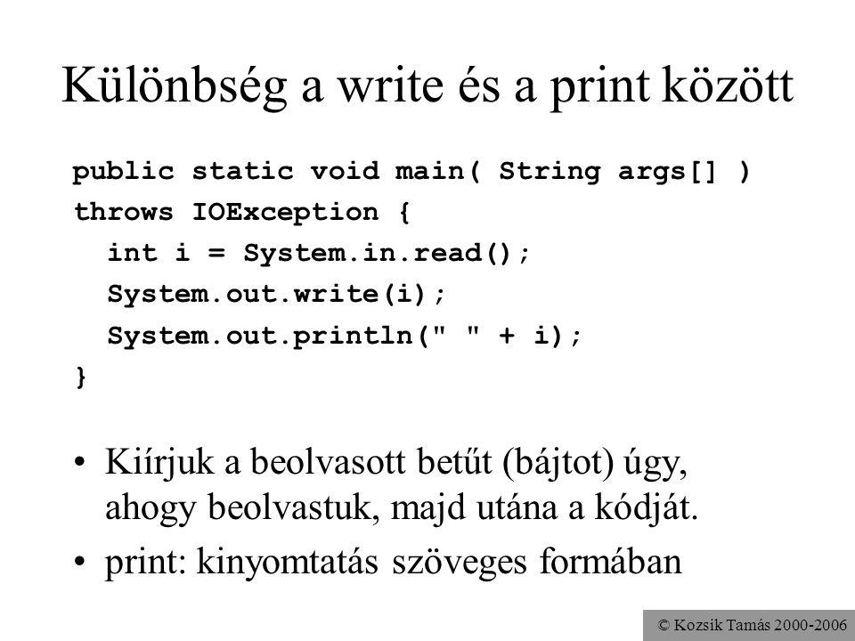 © Kozsik Tamás 2000-2006 Különbség a write és a print között public static void main( String args[] ) throws IOException { int i = System.in.read(); S