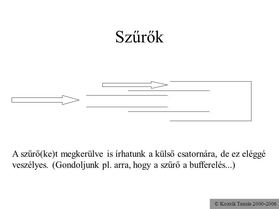 © Kozsik Tamás 2000-2006 Szűrők A szűrő(ke)t megkerülve is írhatunk a külső csatornára, de ez eléggé veszélyes. (Gondoljunk pl. arra, hogy a szűrő a b