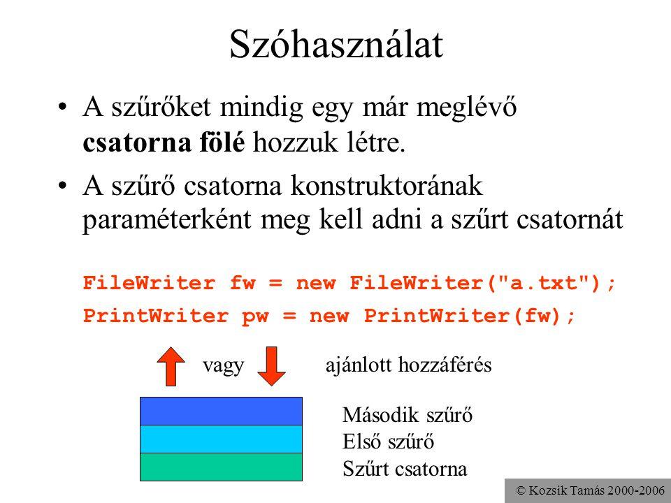 © Kozsik Tamás 2000-2006 Szóhasználat A szűrőket mindig egy már meglévő csatorna fölé hozzuk létre. A szűrő csatorna konstruktorának paraméterként meg