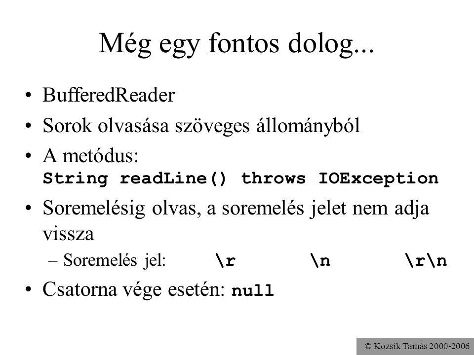 © Kozsik Tamás 2000-2006 Még egy fontos dolog... BufferedReader Sorok olvasása szöveges állományból A metódus: String readLine() throws IOException So