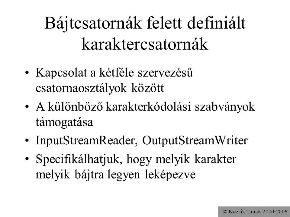 © Kozsik Tamás 2000-2006 Bájtcsatornák felett definiált karaktercsatornák Kapcsolat a kétféle szervezésű csatornaosztályok között A különböző karakter