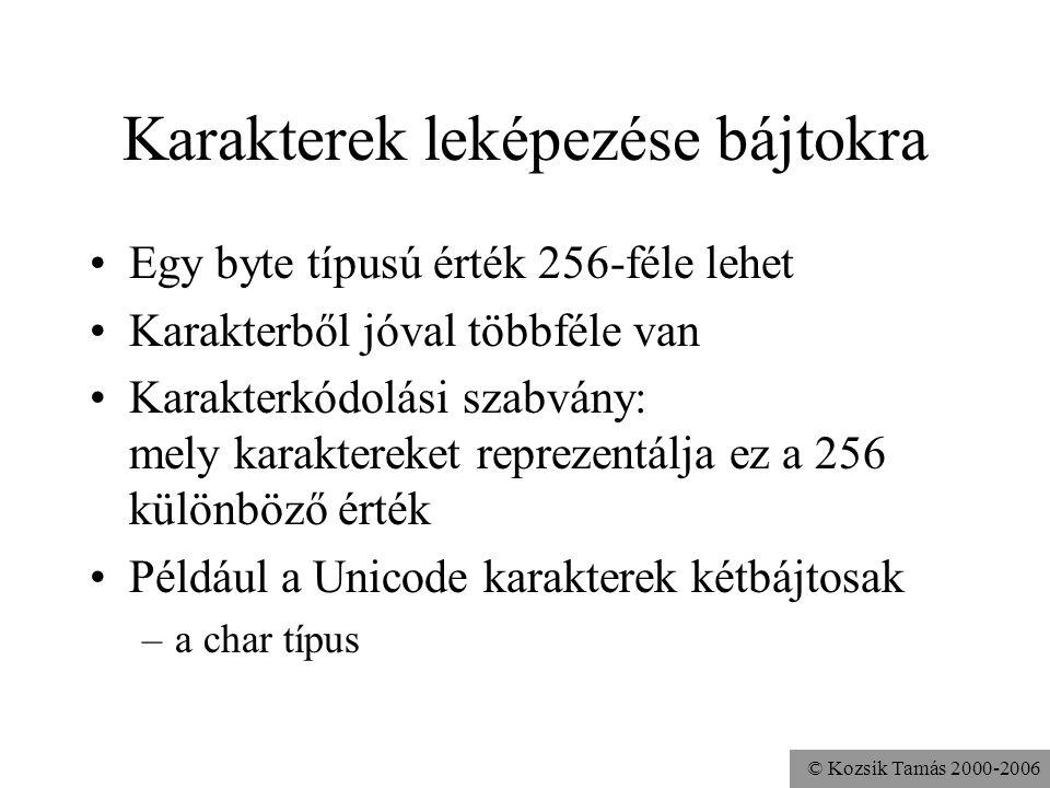 © Kozsik Tamás 2000-2006 Karakterek leképezése bájtokra Egy byte típusú érték 256-féle lehet Karakterből jóval többféle van Karakterkódolási szabvány: