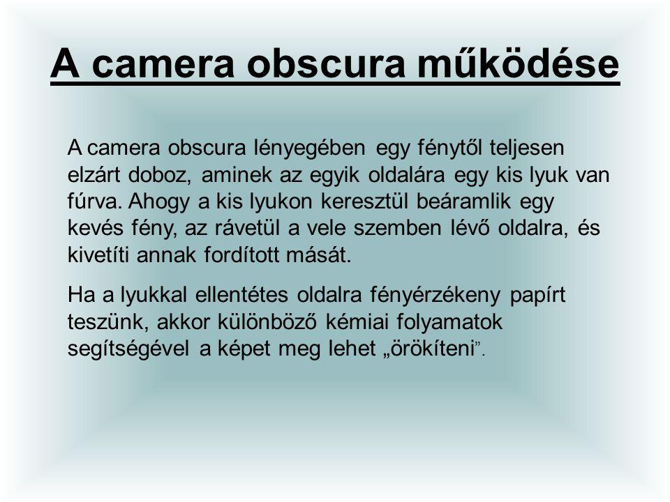 A camera obscura működése A camera obscura lényegében egy fénytől teljesen elzárt doboz, aminek az egyik oldalára egy kis lyuk van fúrva. Ahogy a kis