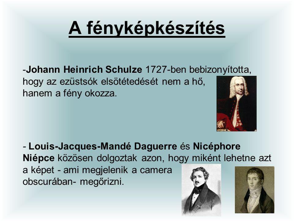 A fényképkészítés -Johann Heinrich Schulze 1727-ben bebizonyította, hogy az ezüstsók elsötétedését nem a hő, hanem a fény okozza. - Louis-Jacques-Mand
