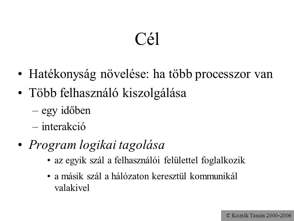 © Kozsik Tamás 2000-2006 Példa a run() megadására class Hello { public static void main(String args[]){ (new Thread(new MyRunnable())).start(); } class MyRunnable implements Runnable { public void run(){ while(true) System.out.println( Hi! ); }