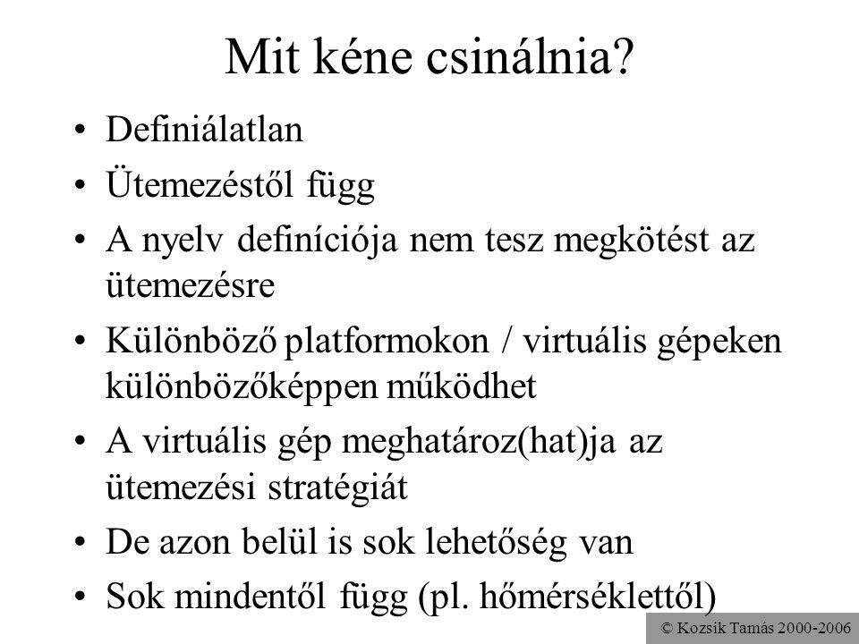 © Kozsik Tamás 2000-2006 Mit kéne csinálnia? Definiálatlan Ütemezéstől függ A nyelv definíciója nem tesz megkötést az ütemezésre Különböző platformoko
