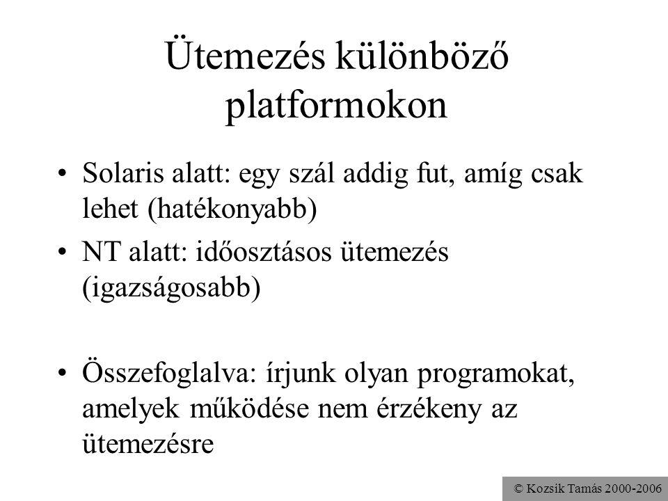 © Kozsik Tamás 2000-2006 Ütemezés különböző platformokon Solaris alatt: egy szál addig fut, amíg csak lehet (hatékonyabb) NT alatt: időosztásos ütemezés (igazságosabb) Összefoglalva: írjunk olyan programokat, amelyek működése nem érzékeny az ütemezésre