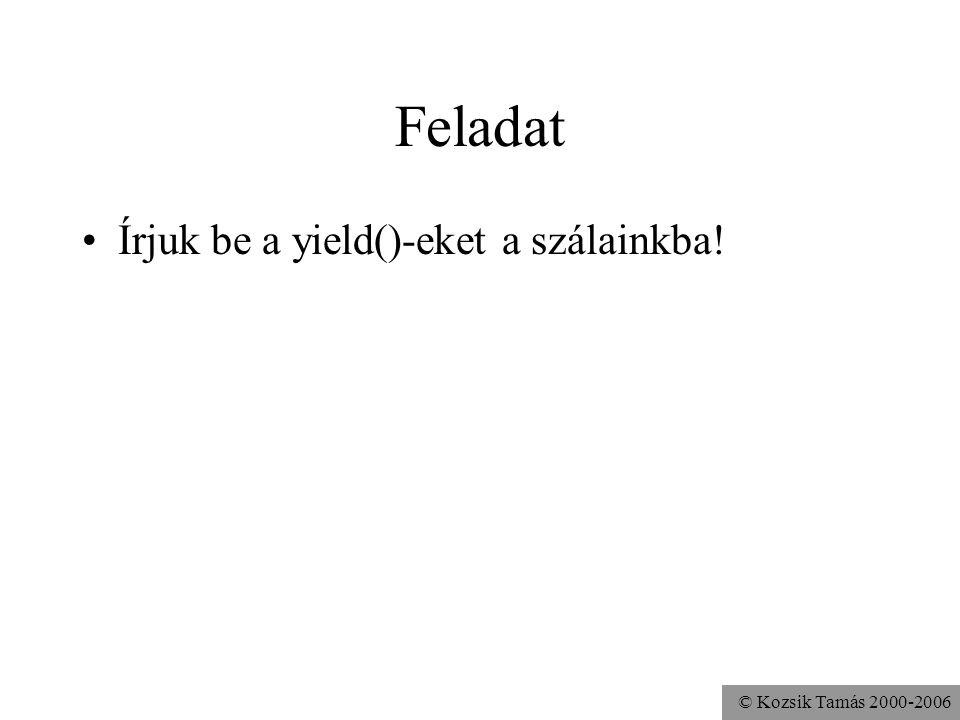 © Kozsik Tamás 2000-2006 Feladat Írjuk be a yield()-eket a szálainkba!