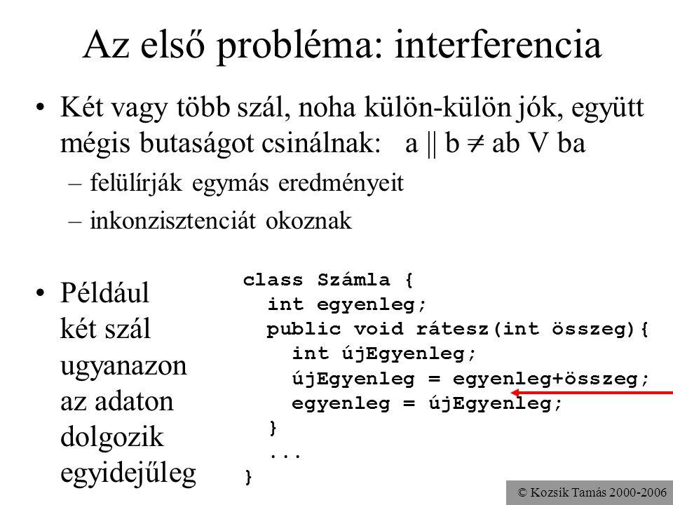 © Kozsik Tamás 2000-2006 Az első probléma: interferencia Két vagy több szál, noha külön-külön jók, együtt mégis butaságot csinálnak: a || b = ab V ba –felülírják egymás eredményeit –inkonzisztenciát okoznak Például két szál ugyanazon az adaton dolgozik egyidejűleg class Számla { int egyenleg; public void rátesz(int összeg){ int újEgyenleg; újEgyenleg = egyenleg+összeg; egyenleg = újEgyenleg; }...