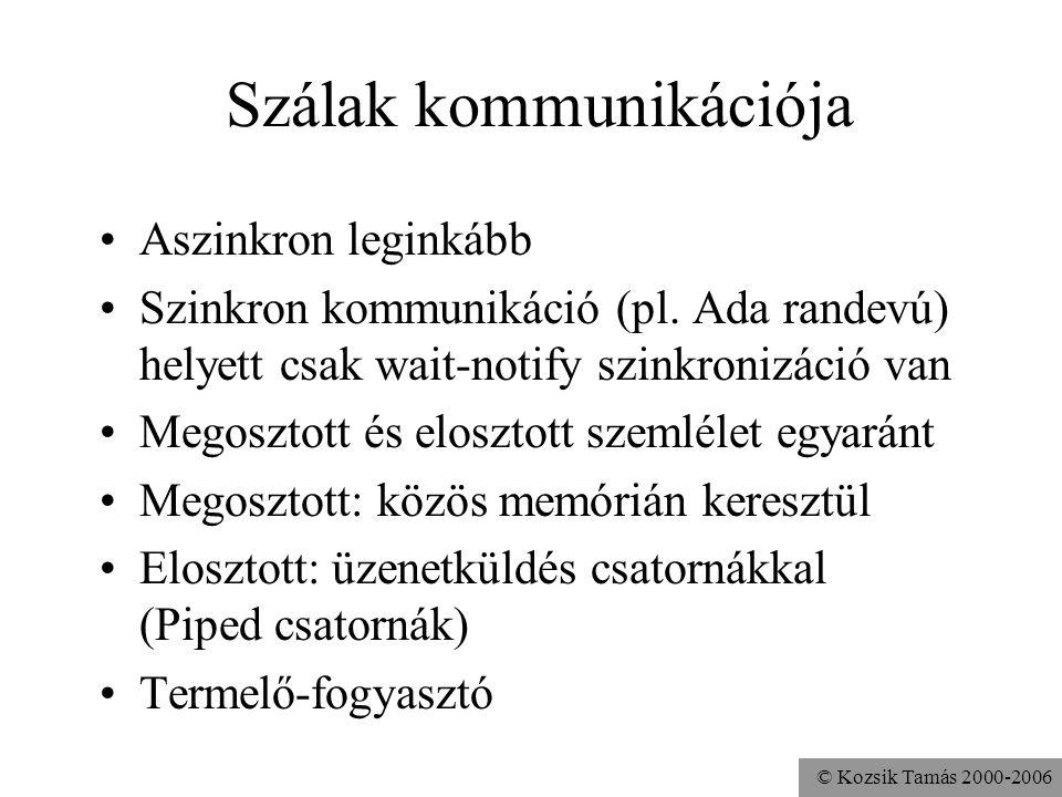 © Kozsik Tamás 2000-2006 Szálak kommunikációja Aszinkron leginkább Szinkron kommunikáció (pl. Ada randevú) helyett csak wait-notify szinkronizáció van