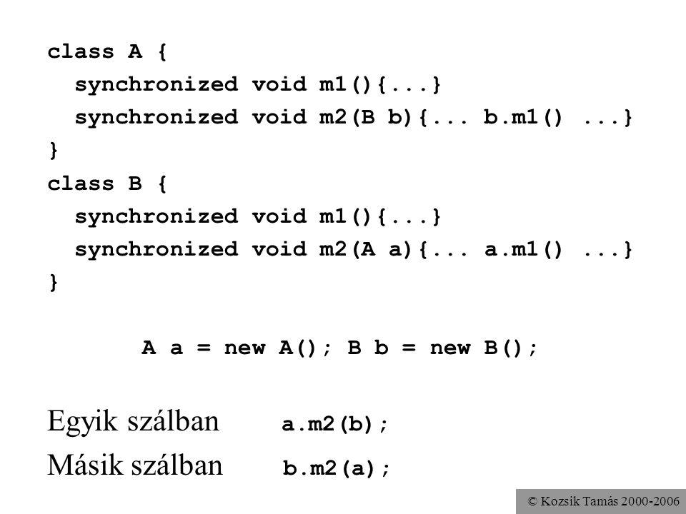 © Kozsik Tamás 2000-2006 class A { synchronized void m1(){...} synchronized void m2(B b){... b.m1()...} } class B { synchronized void m1(){...} synchr