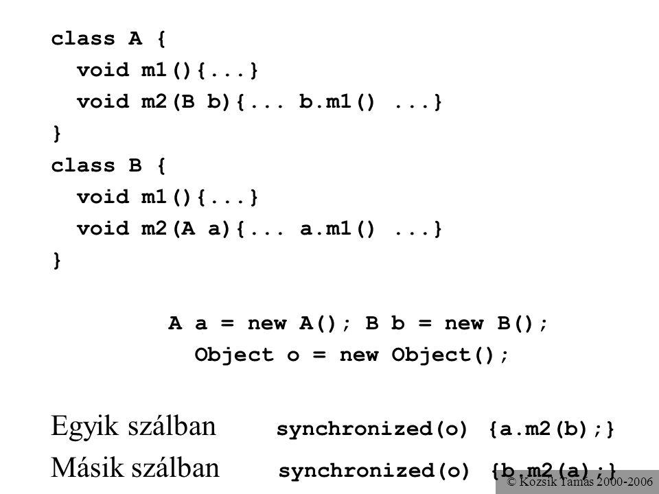 © Kozsik Tamás 2000-2006 class A { void m1(){...} void m2(B b){... b.m1()...} } class B { void m1(){...} void m2(A a){... a.m1()...} } A a = new A();
