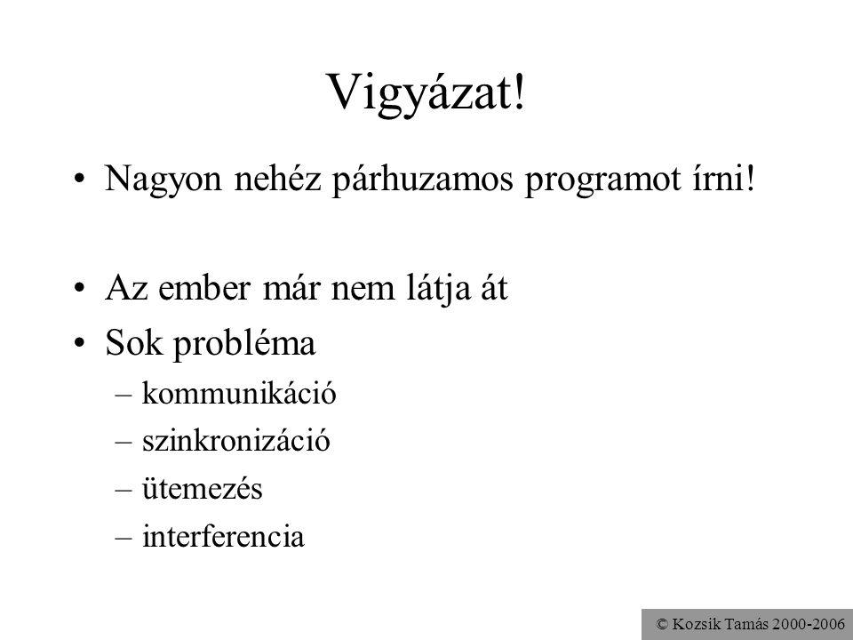 © Kozsik Tamás 2000-2006 Vigyázat! Nagyon nehéz párhuzamos programot írni! Az ember már nem látja át Sok probléma –kommunikáció –szinkronizáció –üteme
