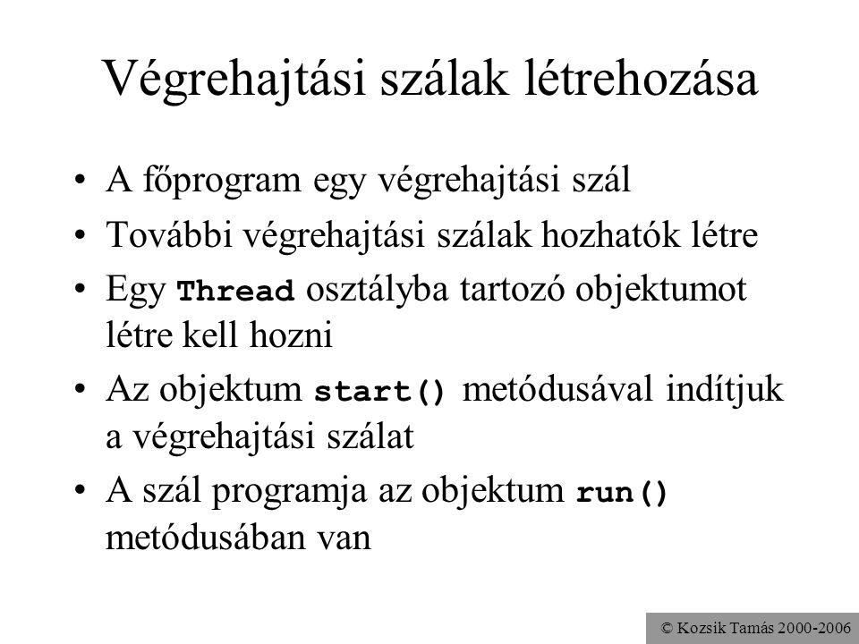© Kozsik Tamás 2000-2006 Példa class Hello { public static void main(String args[]){ Thread t = new Thread(); t.start(); } Hát ez még semmi különöset sem csinál, mert üres a run()