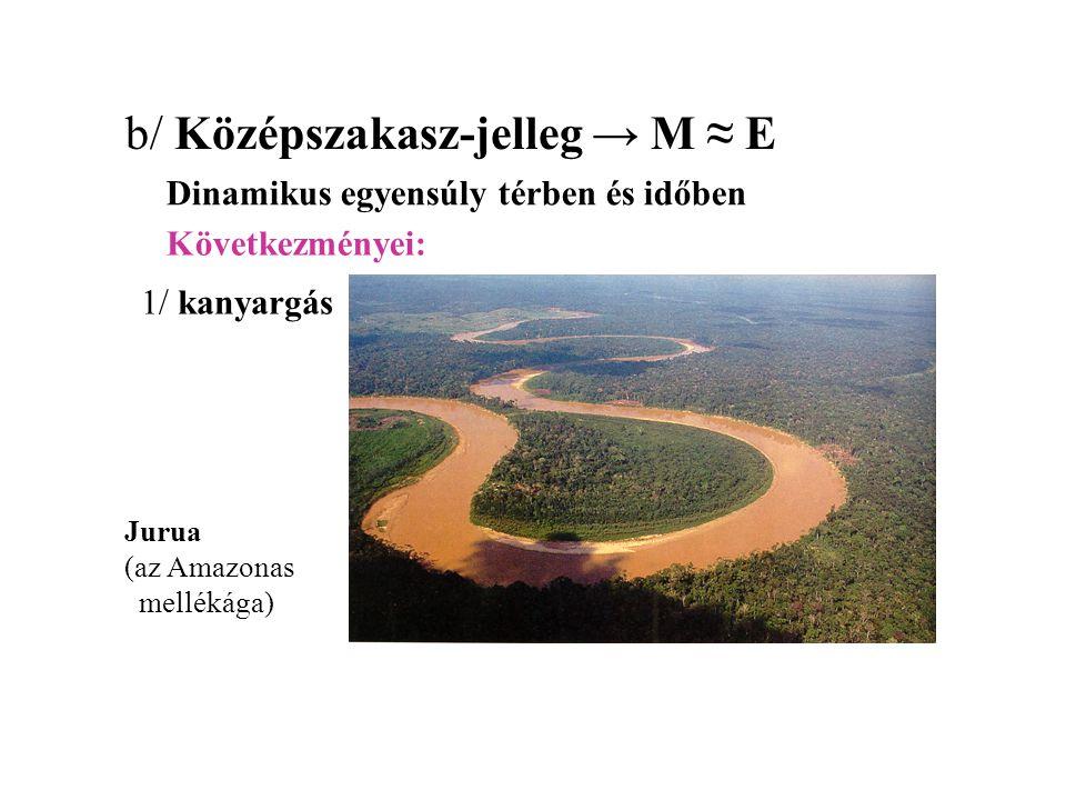 b/ Középszakasz-jelleg → M ≈ E Dinamikus egyensúly térben és időben Jurua (az Amazonas mellékága) 1/ kanyargás Következményei: