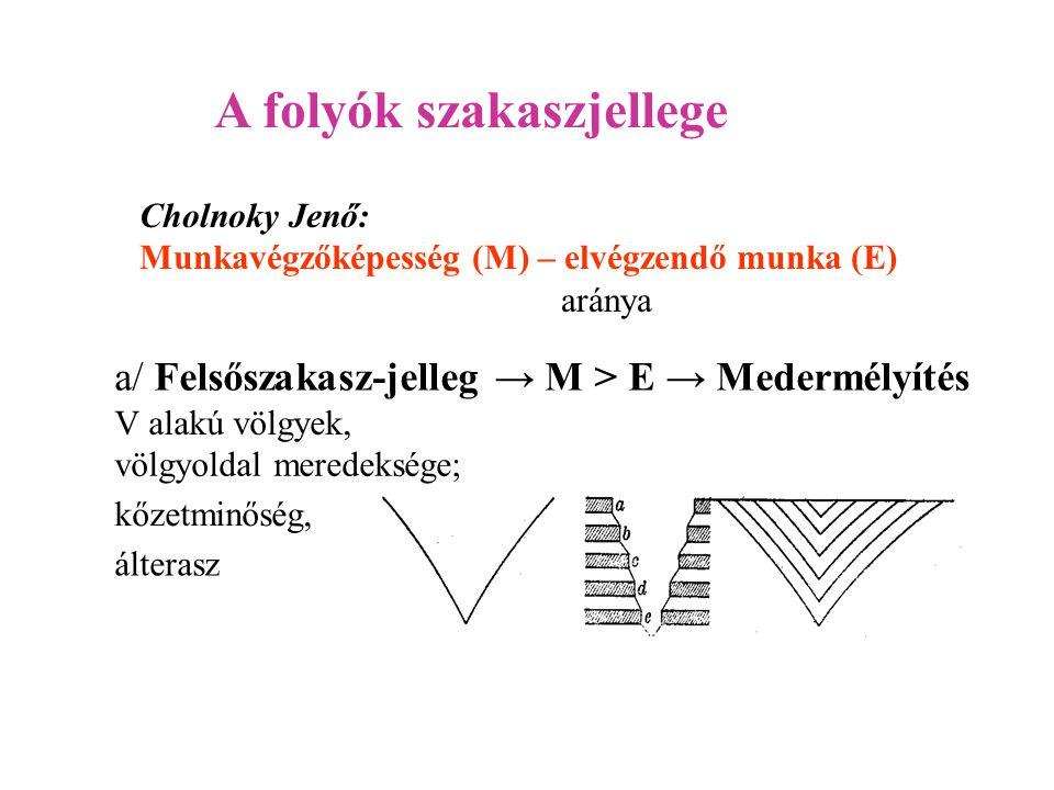 A folyók szakaszjellege a/ Felsőszakasz-jelleg → M > E → Medermélyítés álterasz kőzetminőség, völgyoldal meredeksége; Cholnoky Jenő: Munkavégzőképessé